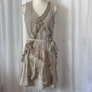 GAP Sleeveless Champagne Ruffle Dress Sash Size 6